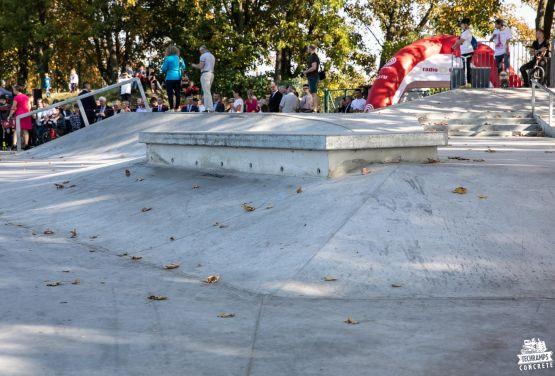 Concrete obstacle in skatepark in Nakło nad Notecią