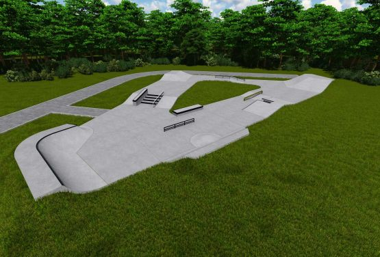 Betonowy skatepark w Kawlawarii Zebrzydowskiej - kocepcja