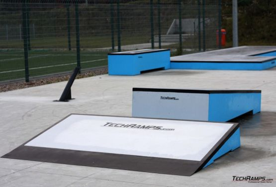 Kicker and grindbox - concrete obstacles in skatepark