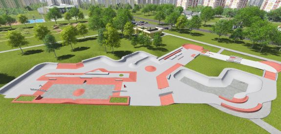 Concrete skatepark in Moscow