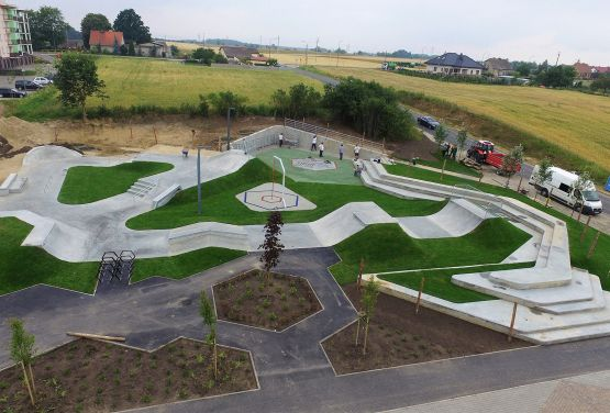 picture from drone skatepark in Świecie