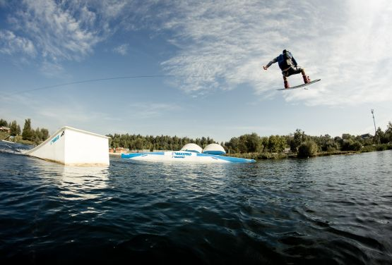 Wakeboarder in wakepark in Cracow