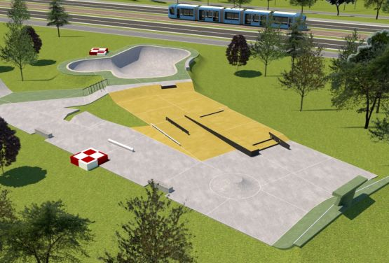 Visualisierung des Skateparks in Park Lotników (Krakau)