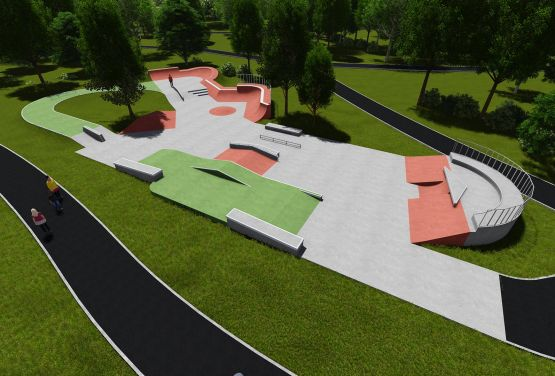 Project of concrete skatepark in Cracow in Poland