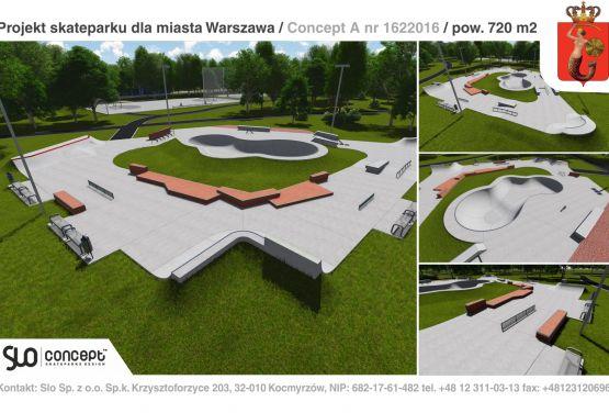 Design documentation of concrete skatepark (Warsaw)