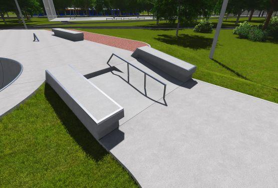 Skatepark w Warszawie Ochocie - projekt przeszkód