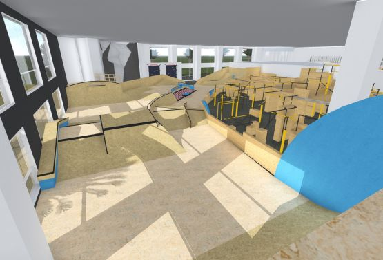 Conception of skatepark in hall (Dubai)