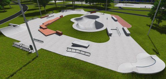 Skatepark de béton à Varsovie (Pologne)