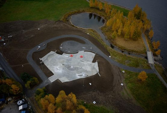 Drone view - skatepark in Lillehammer
