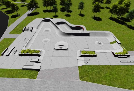 Concrete skatepark in Swarzęd - visualisation of project