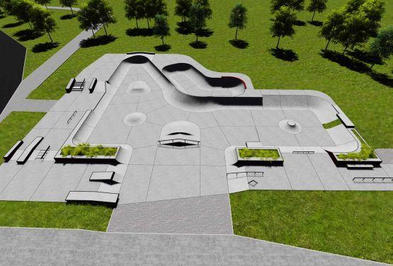 Concrete skatepark in Swarzęd - visualisation of project