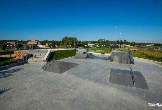 Concrete and metal obstacles in skatepark in Poland