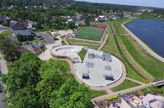 Conrete and tin skatepark in Wąchock (Poland)