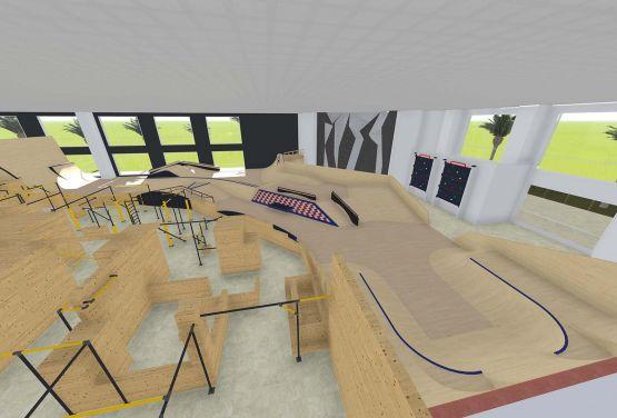 Koncepcja skateparku oraz flowparku w hali w arabskim mieście Dubaj