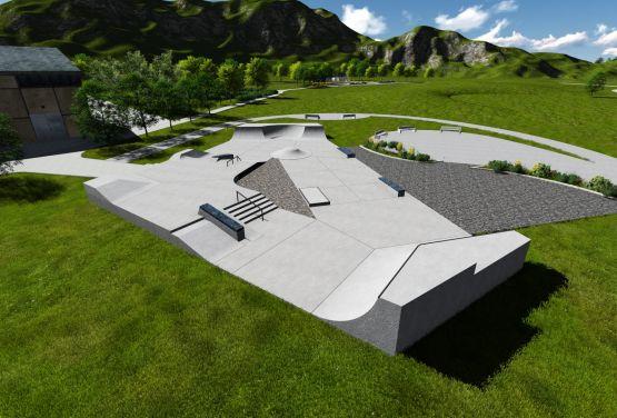 Skatepark w Lillehammer w Norwegii - wizualizacja