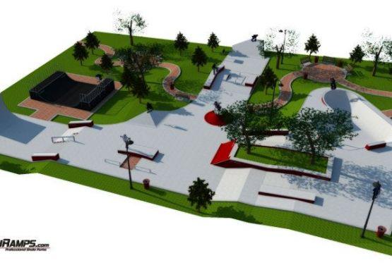 Bau der Skateplaza in Krakau