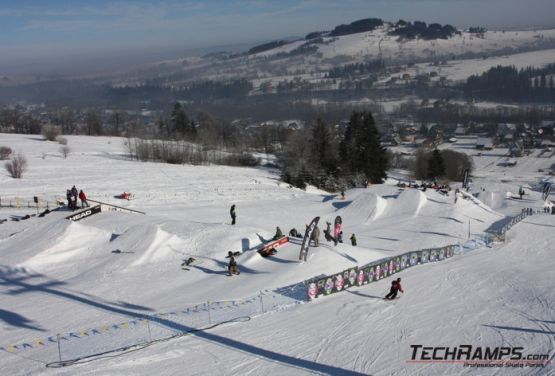 View at downhill ride in snowpark (Witów)