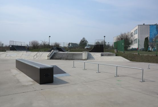 View at obstacles in skatepark in Tarnowskie Góry (Silesia Province)