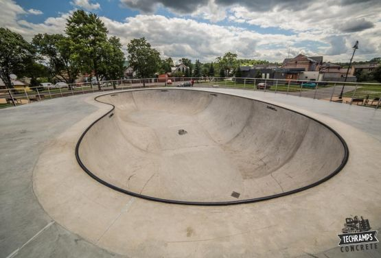 Bowl in skatepark by lagoon in Poland