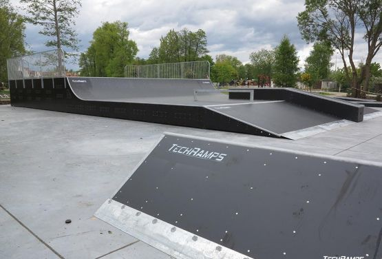 View on element of skatepark in Pisz