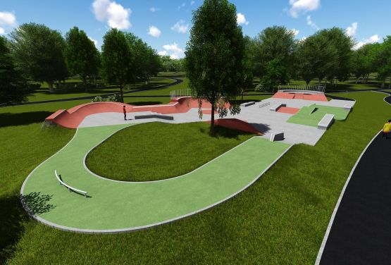 Visualisation of concrete skatepark in Jordan Park in Cracow