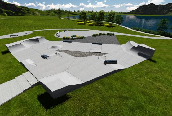 Visualisation of concrete skatepark - Techramps