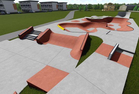 Visualisation of skatepark in Wejherowo