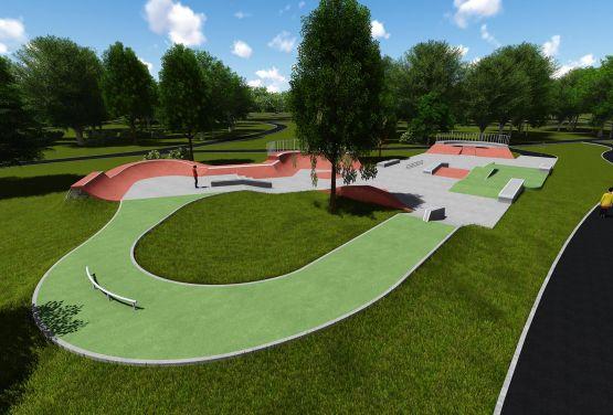 Beton Visualisierung skatepark in Jordan Park in Krakau