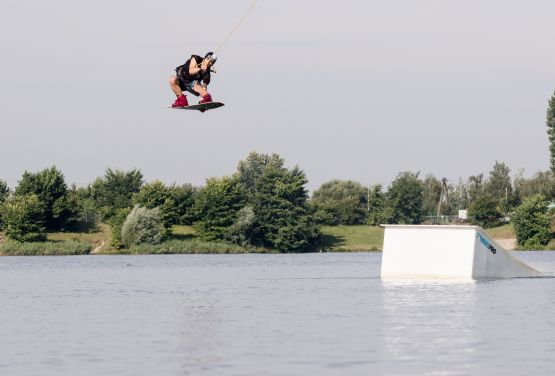 Kicker in wakepark in Cracow