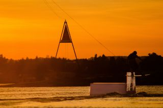 Sunset in a wakepark in Cracow