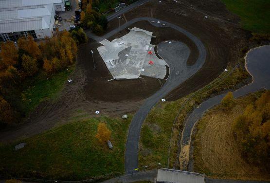 Widok na skatepark w Lillehammer w Norwegii