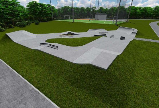 Wizualizacja betonowego skateparku (Kalwaria Zebrzydowska)