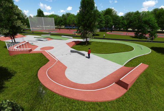 Wizualizacja betonowego skateparku -Kraków - Park Jordana