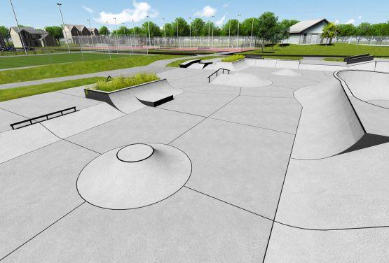 Skatepark betonowy w Swarzędzu - wizualizacja przeszkód