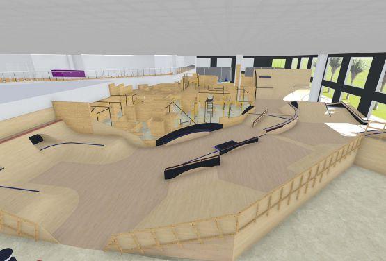 Koncepcja skateparku w hali w Dubaju