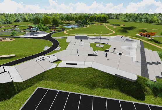 Wizualizacja skateparku betonowego w Olkuszu